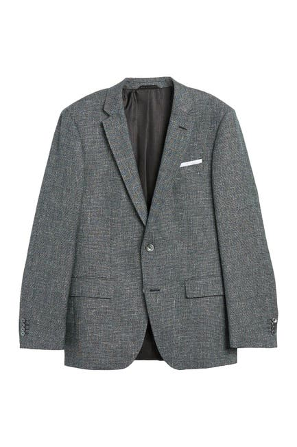 Image of BOSS Hutson Open Green Two Button Wool Blazer