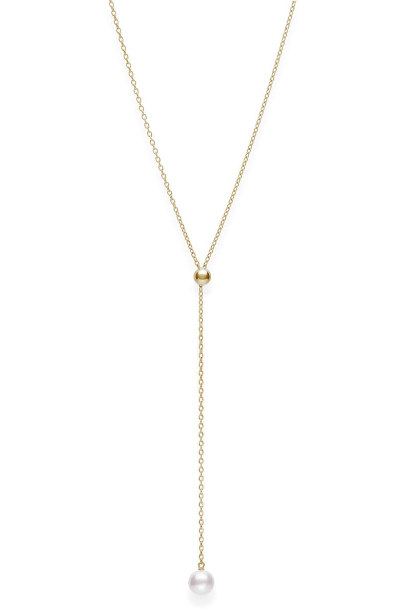 MIKIMOTO Japan Collections Pearl Lariat Necklace, Main, color, YELLOW GOLD/ PEARL