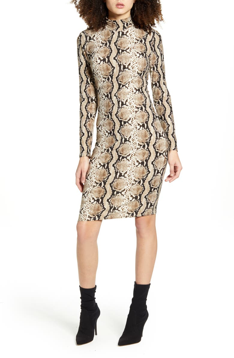 LEITH Long Sleeve Body-Con Dress, Main, color, GREY FORGED SNAKESKIN