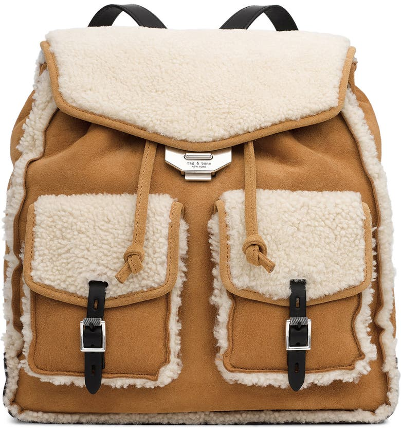 RAG & BONE Small Suede Genuine Shearling Field Backpack, Main, color, 200