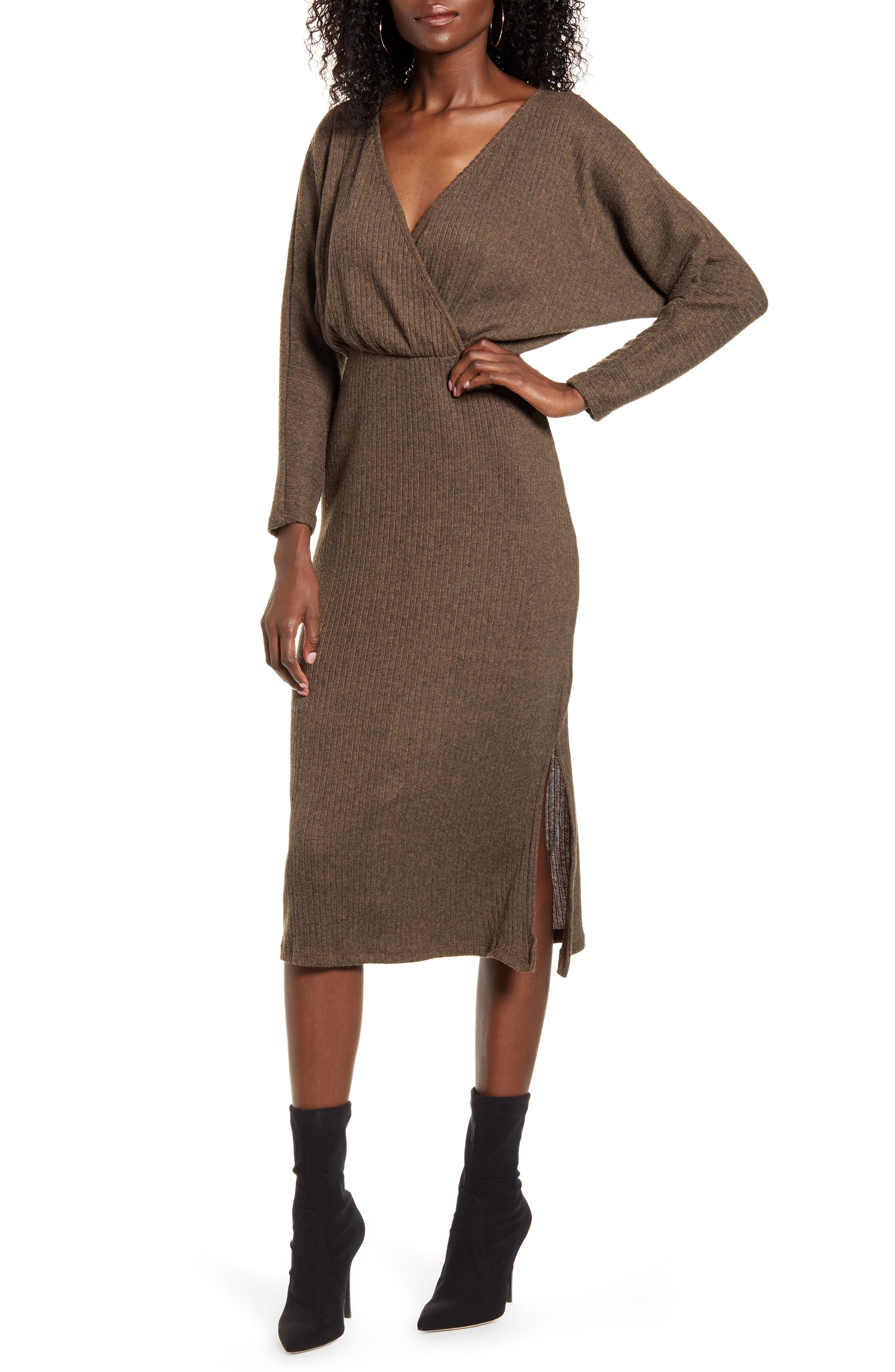 All in Favor Cozy Ribbed Midi Dress