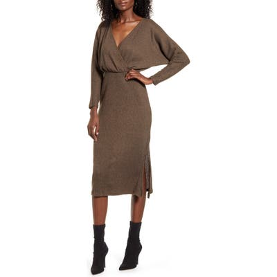 All In Favor Cozy Ribbed Midi Dress, Brown
