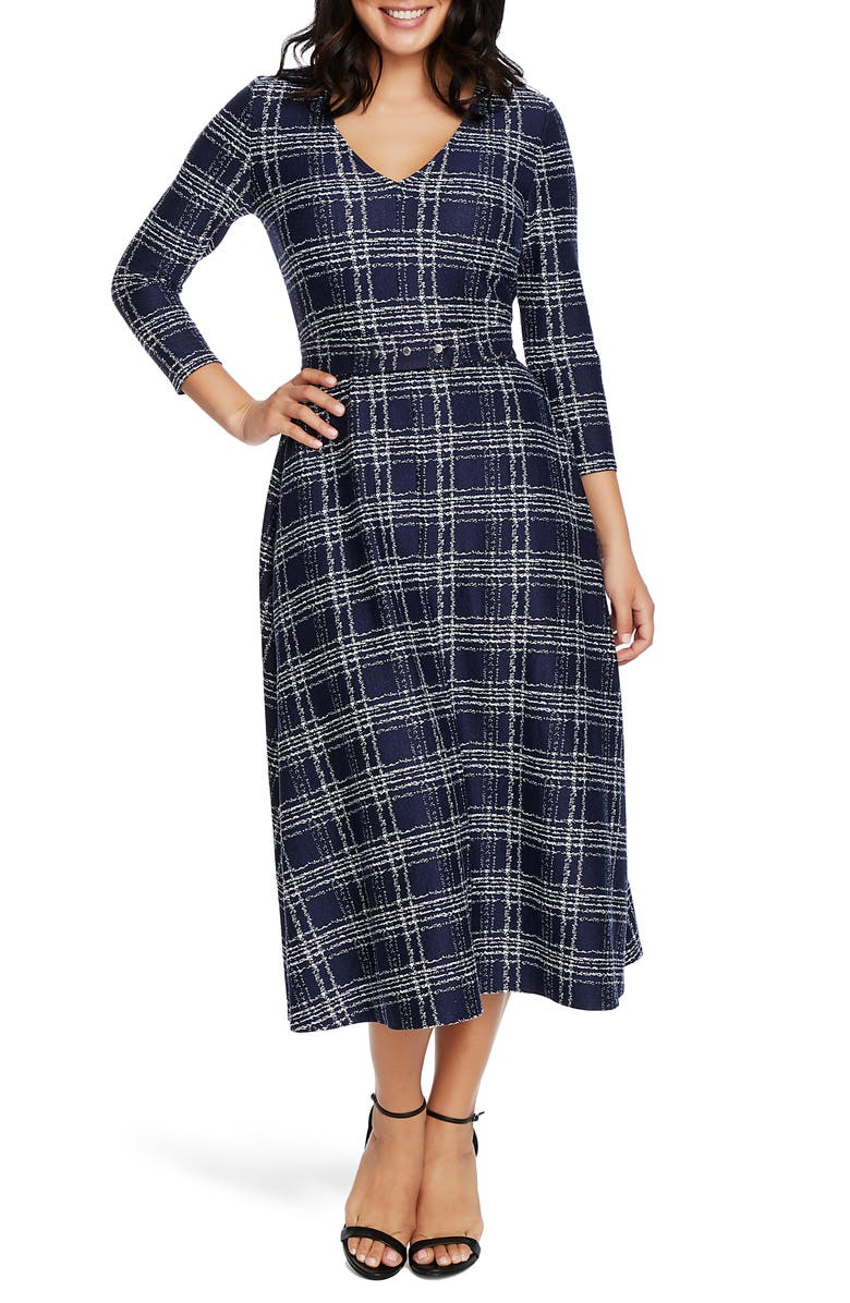 CHAUS Brushstroke Print Midi Dress, Main, color, EVENING NAVY
