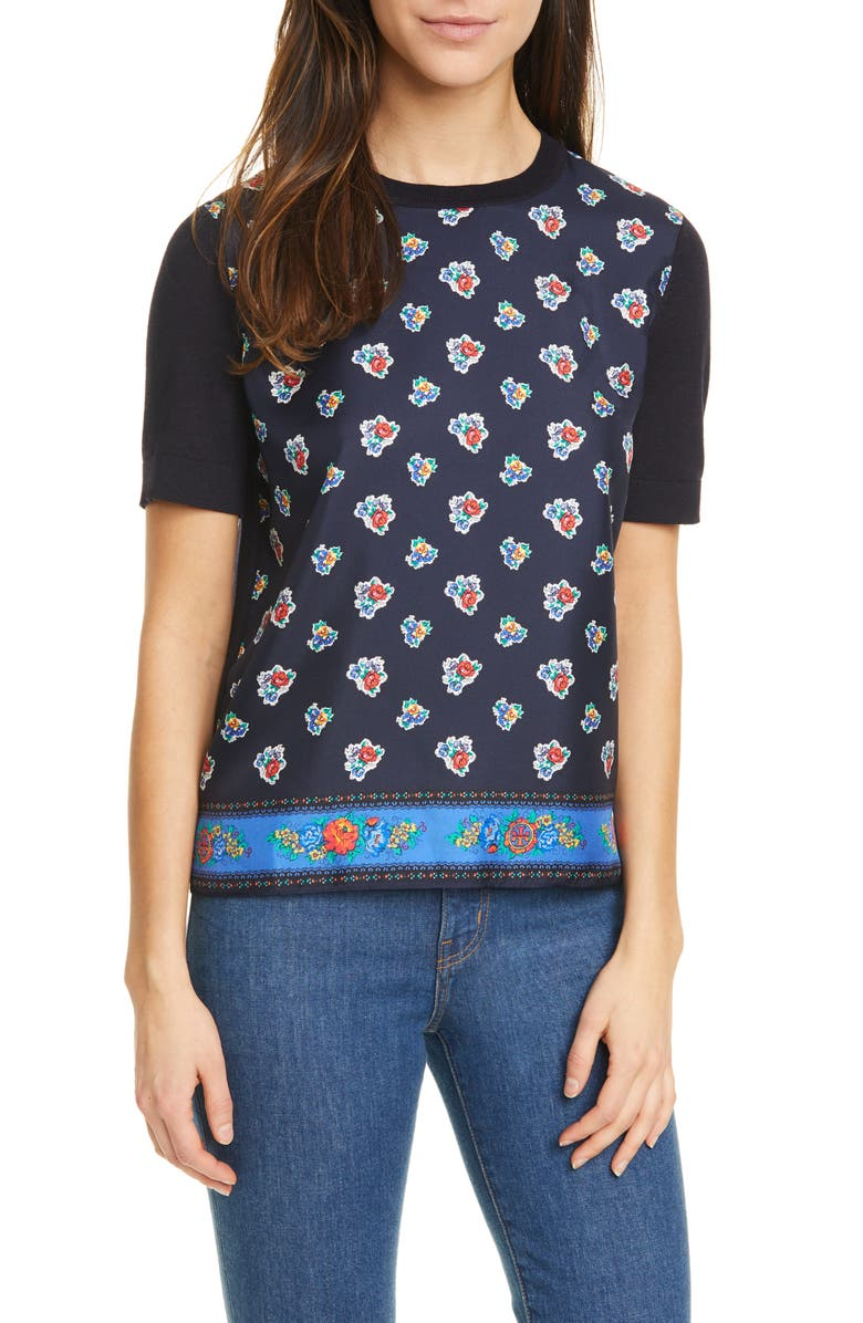 TORY BURCH Silk Front Short Sleeve Sweater, Main, color, NAVY TEA ROSE BORDER