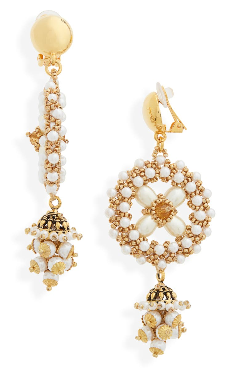 OSCAR DE LA RENTA Imitation Pearl Clip-On Drop Earrings, Main, color, GOLD