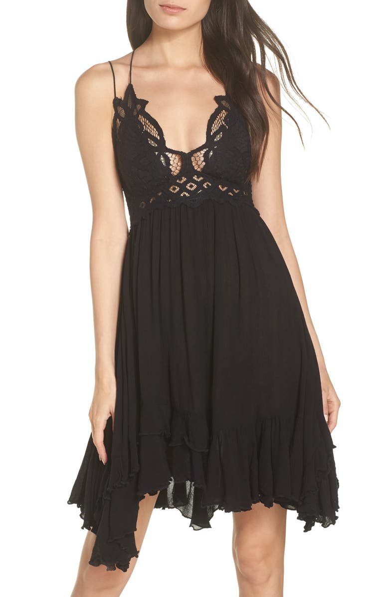 FREE PEOPLE Intimately FP Adella Frilled Chemise, Main, color, BLACK