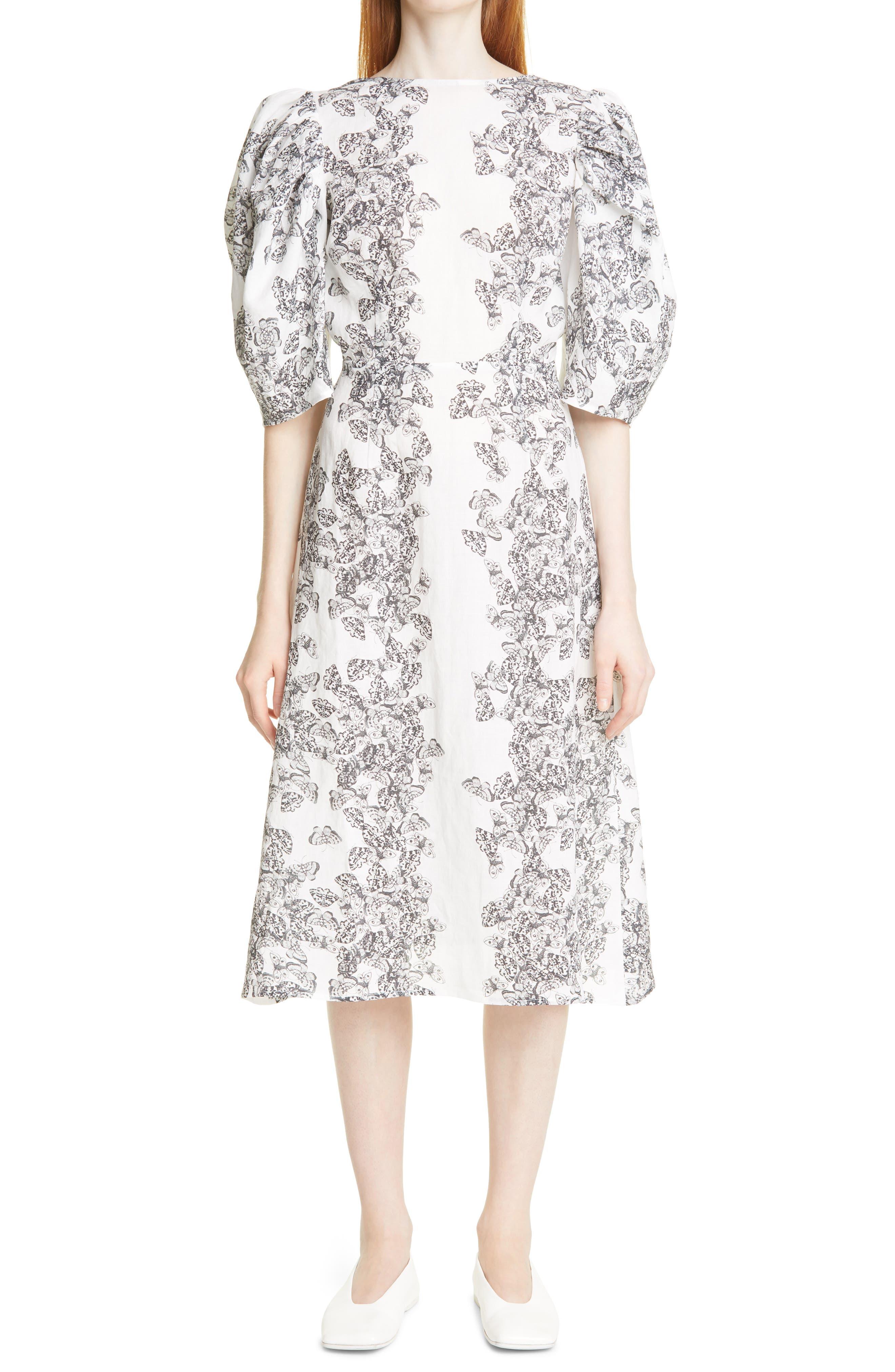 Bleeding Hearts Print Puff Sleeve Open Back Linen Dress