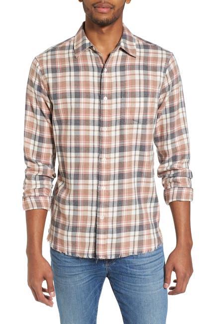 Image of FRAME Denim Regular Fit Fray Hem Flannel Sport Shirt