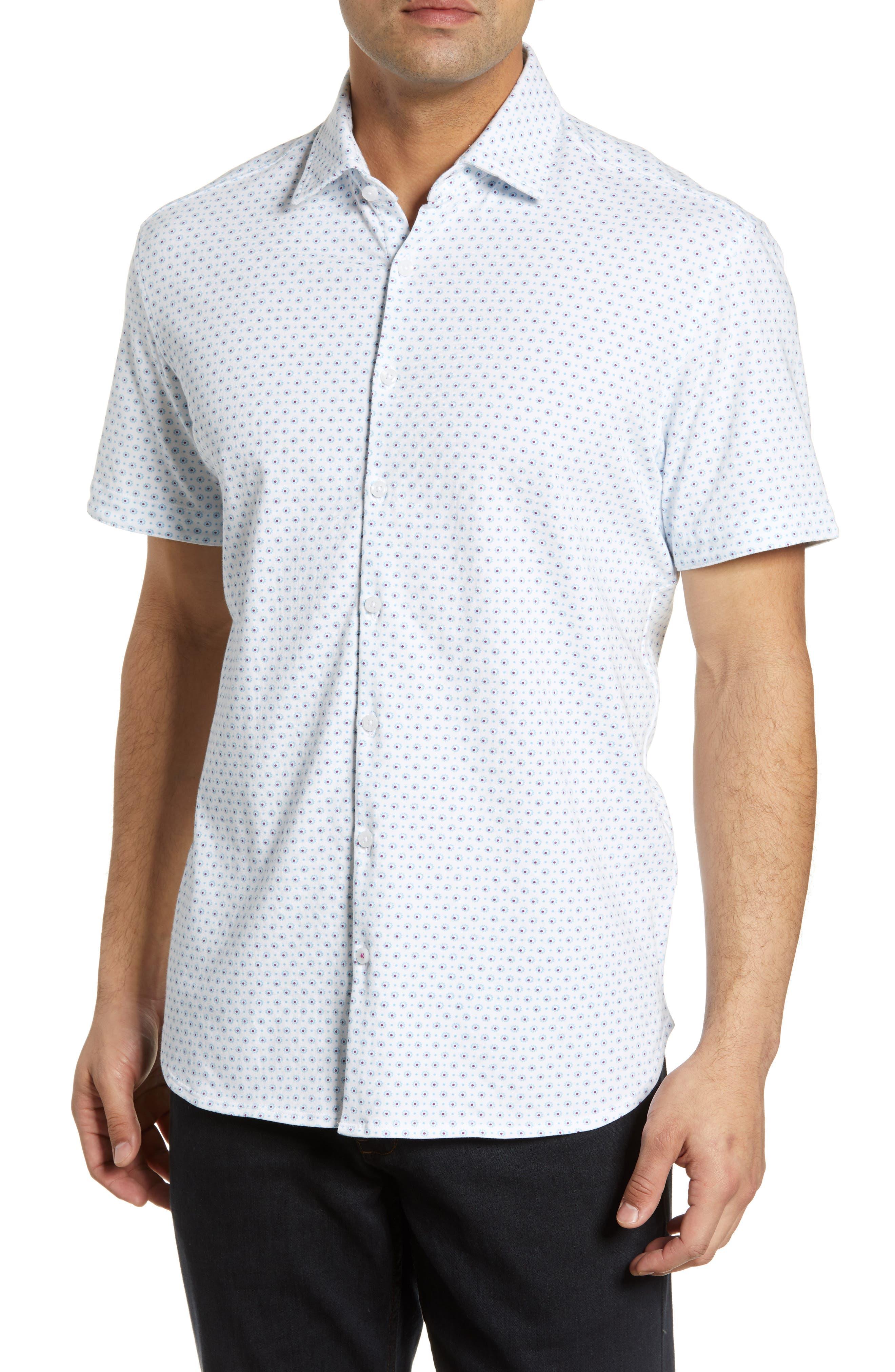 ,                             Regular Fit Geo Print Performance Knit Sport Shirt,                             Main thumbnail 1, color,                             LIGHT BLUE