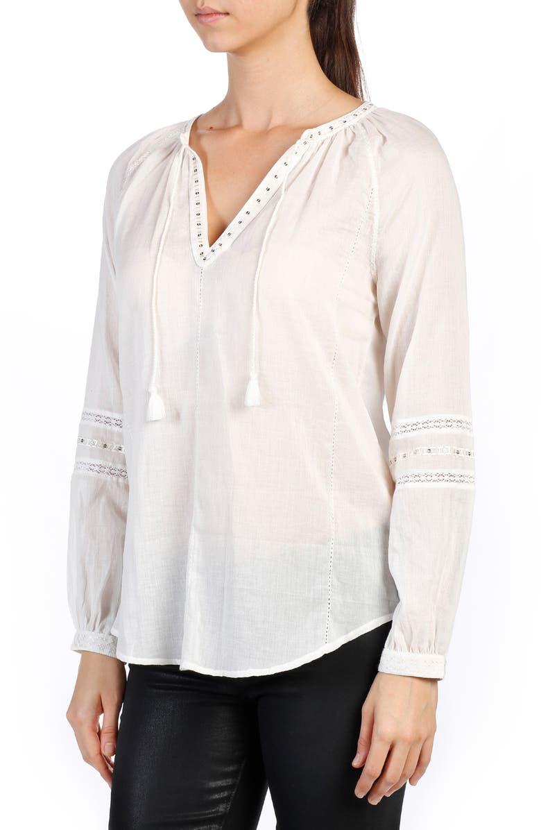 PAIGE Ava Cotton Peasant Top, Main, color, 100