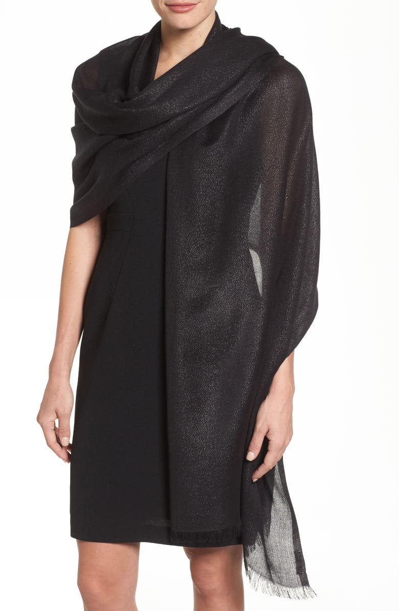 NORDSTROM Metallic Lightweight Wrap, Main, color, BLACK