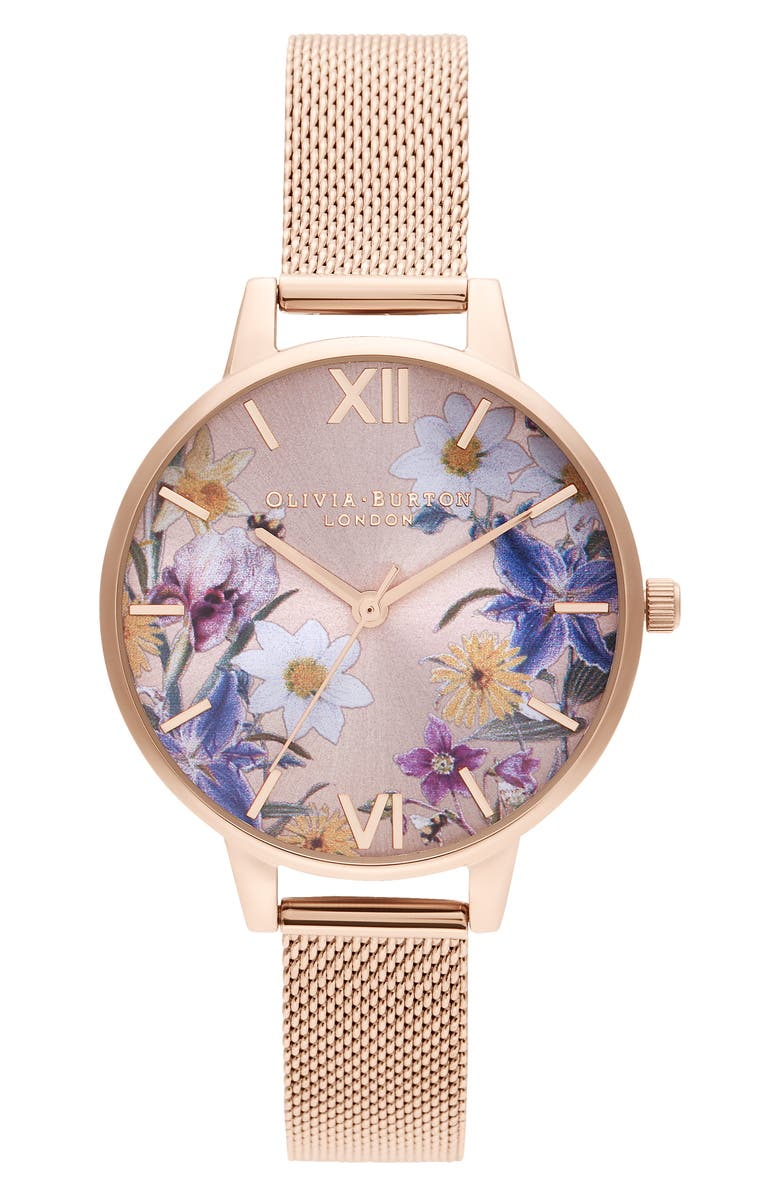 OLIVIA BURTON Best In Show Bracelet Watch, 34mm, Main, color, ROSE GOLD/ FLORAL/ ROSE GOLD