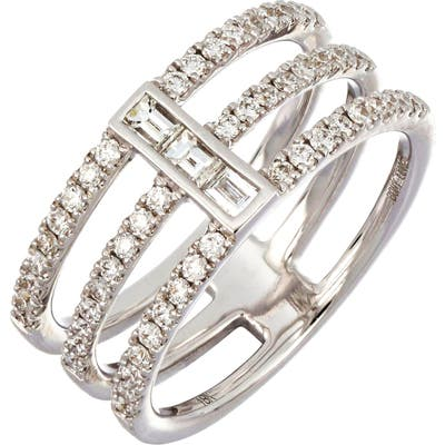 Bony Levy Baguette Bar Three-Row Diamond Ring (Nordstrom Exclusive)