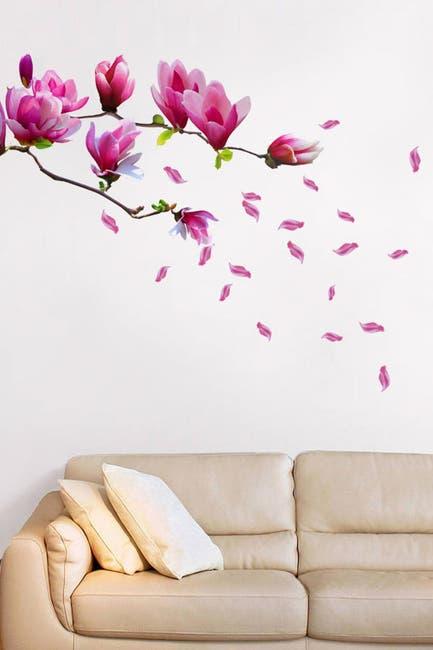 Image of WalPlus Red Magnolia Flower Art Wall Sticker