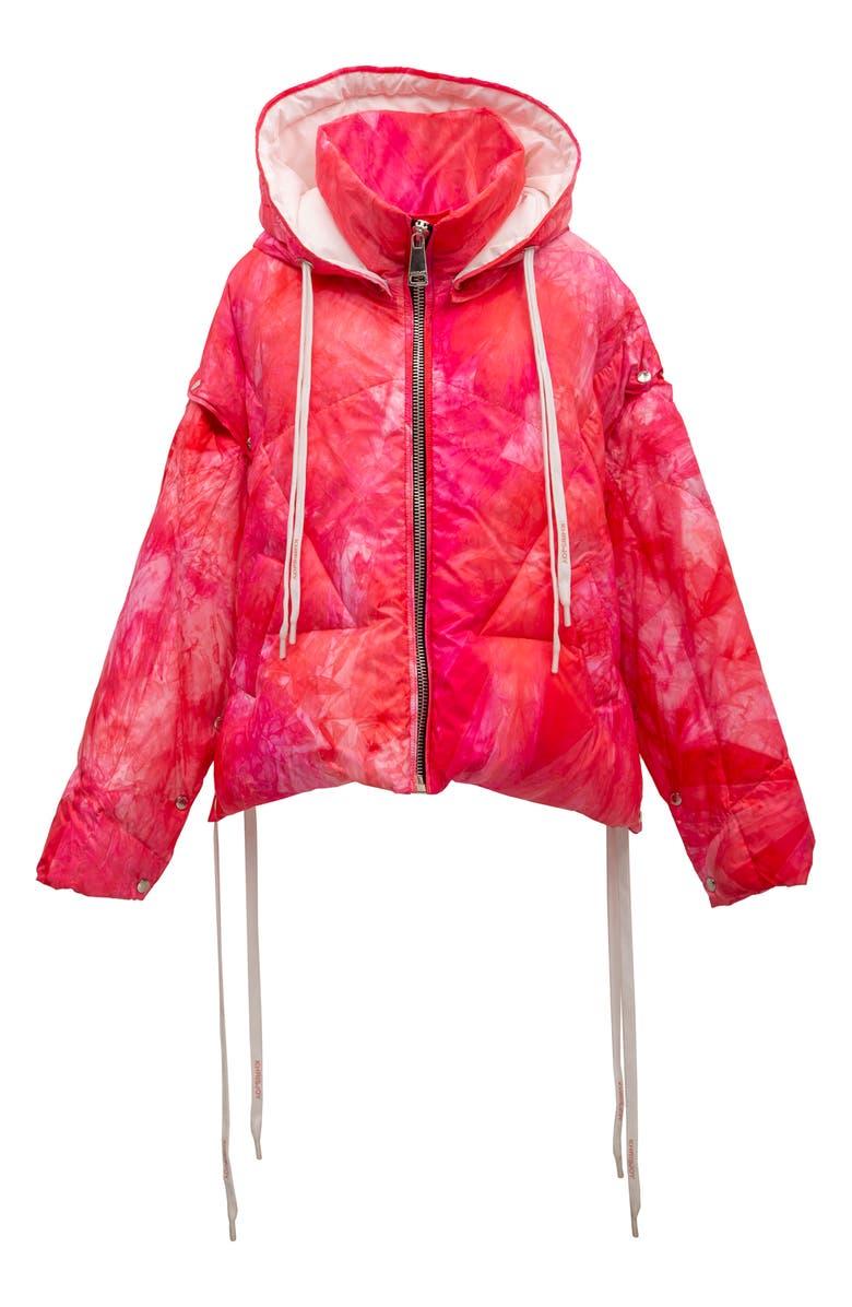 KHRISJOY Khris Tie Dye Waterproof Down Puffer Jacket with Detachable Sleeves, Main, color, FUCHSIA TIE DYE