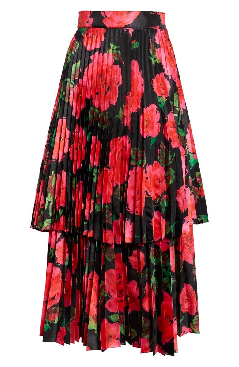 RICHARD QUINN Pleated Floral Print Taffeta Midi Skirt, Main, color, FUCHSIA