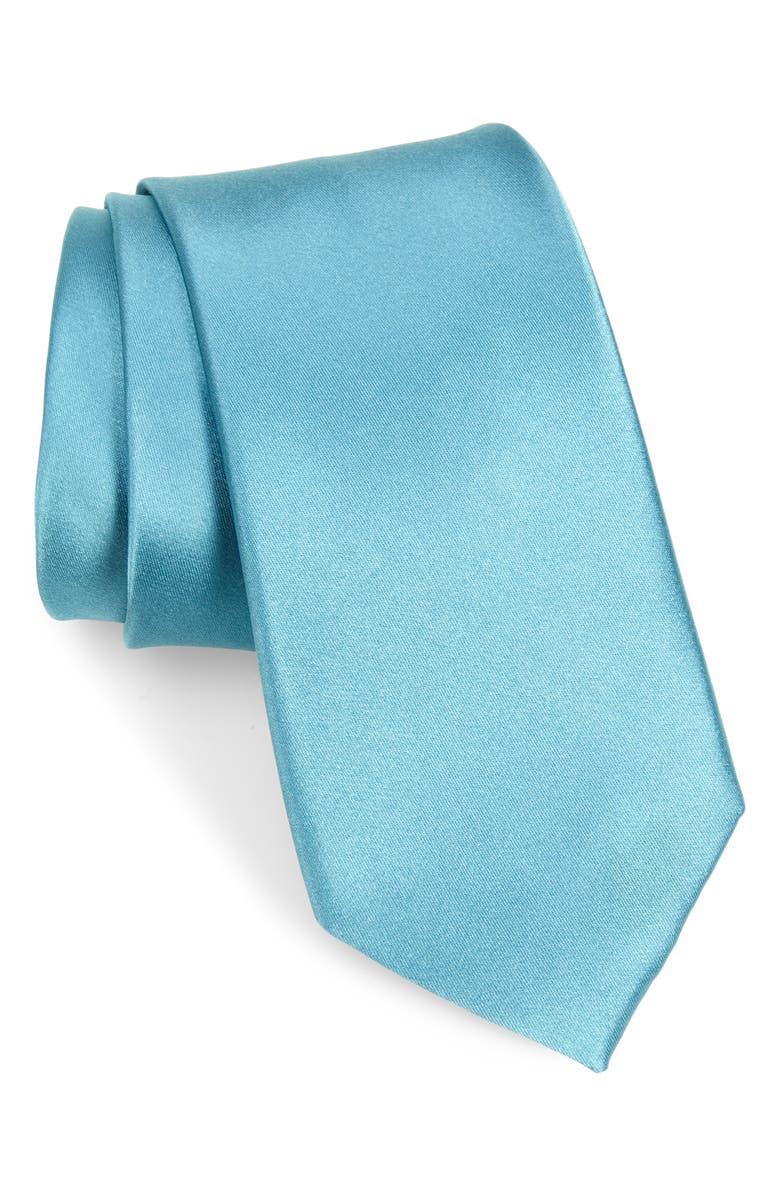 NORDSTROM MEN'S SHOP Solid Silk Tie, Main, color, OCEAN