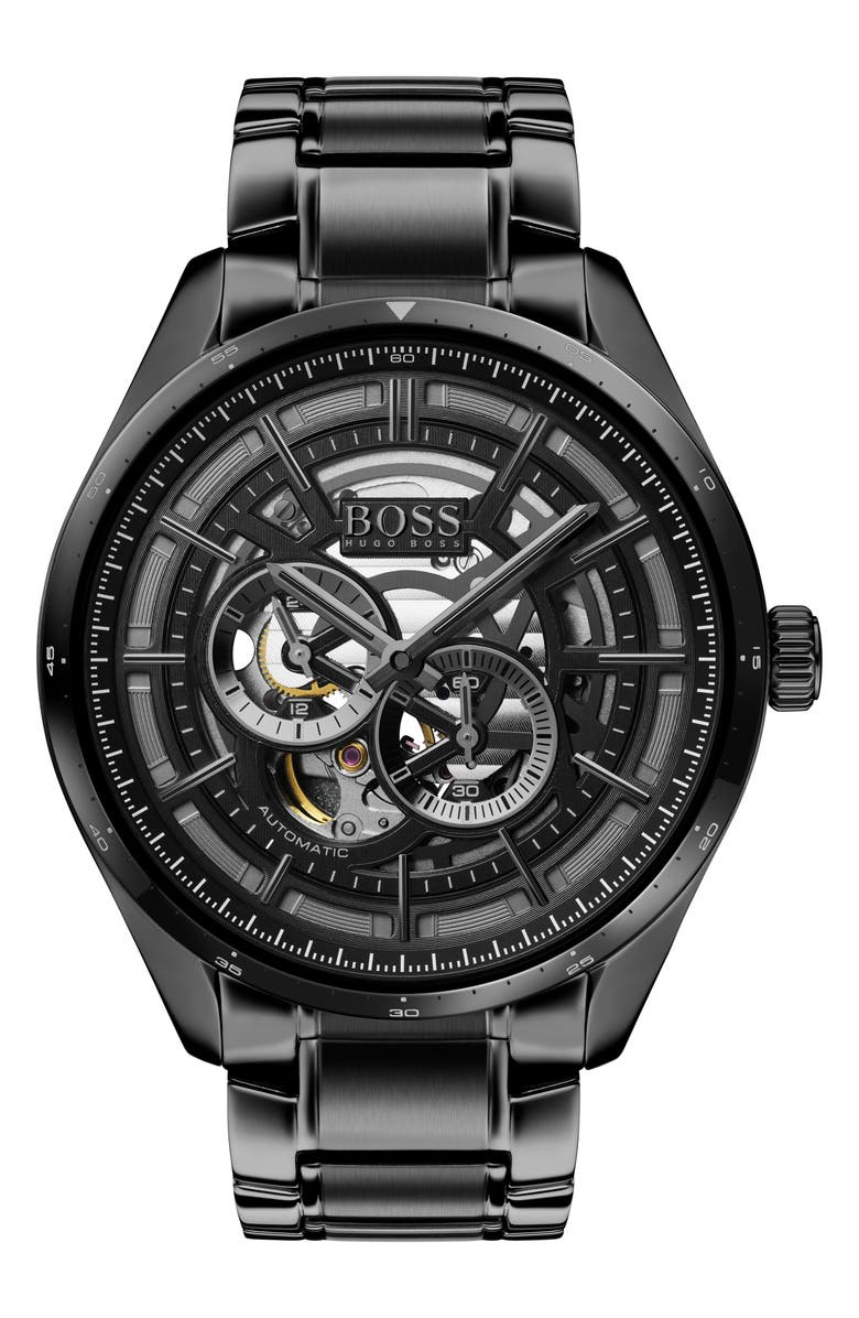 BOSS Grand Prix Automatic Bracelet Watch, 44mm, Main, color, BLACK
