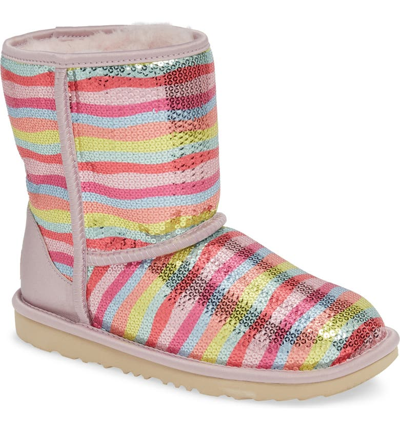 UGG<SUP>®</SUP> Rainbow Classic Short II Sequin Stripe Boot, Main, color, RAINBOW MULTI