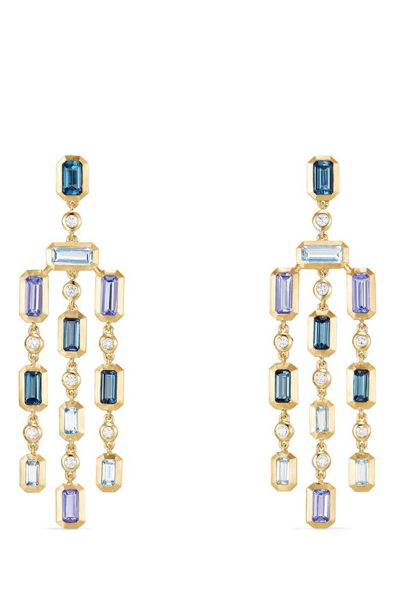DAVID YURMAN Novella Earrings with Diamonds, Main, color, GOLD/ DIAMOND/ BLUE TOPAZ