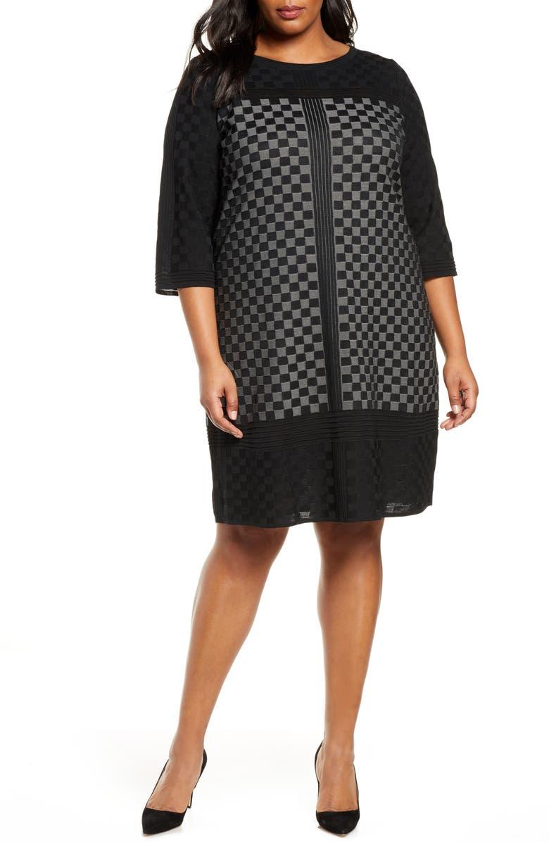 MING WANG Check Sweater Dress, Main, color, BLACK/ MINERAL GREY