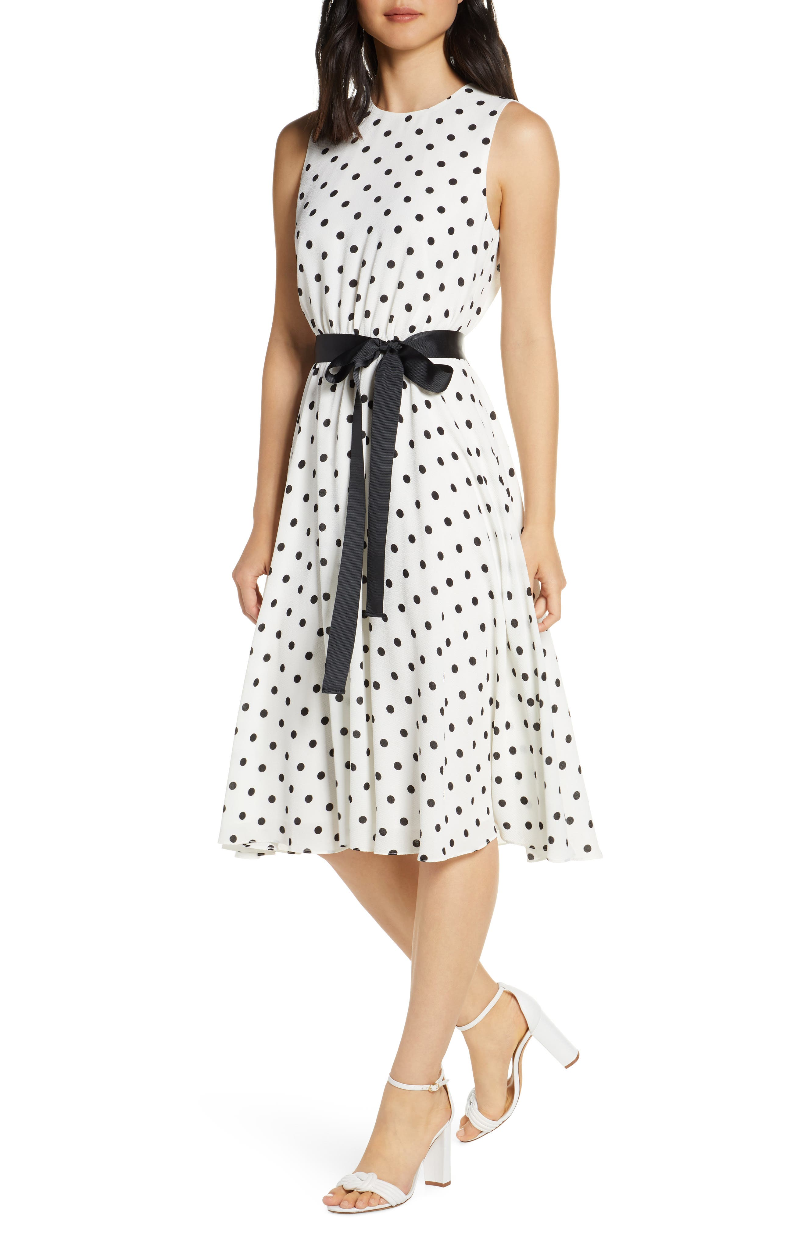 Petite Harper Rose Polka Dot Fit & Flare Dress, Ivory