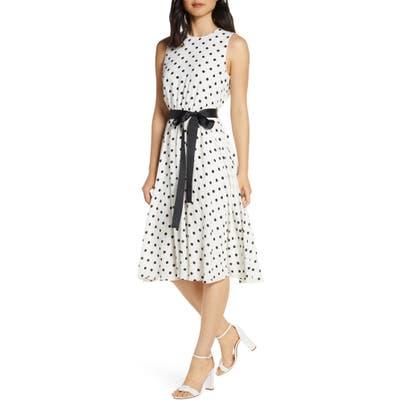 Harper Rose Polka Dot Fit & Flare Dress, Ivory