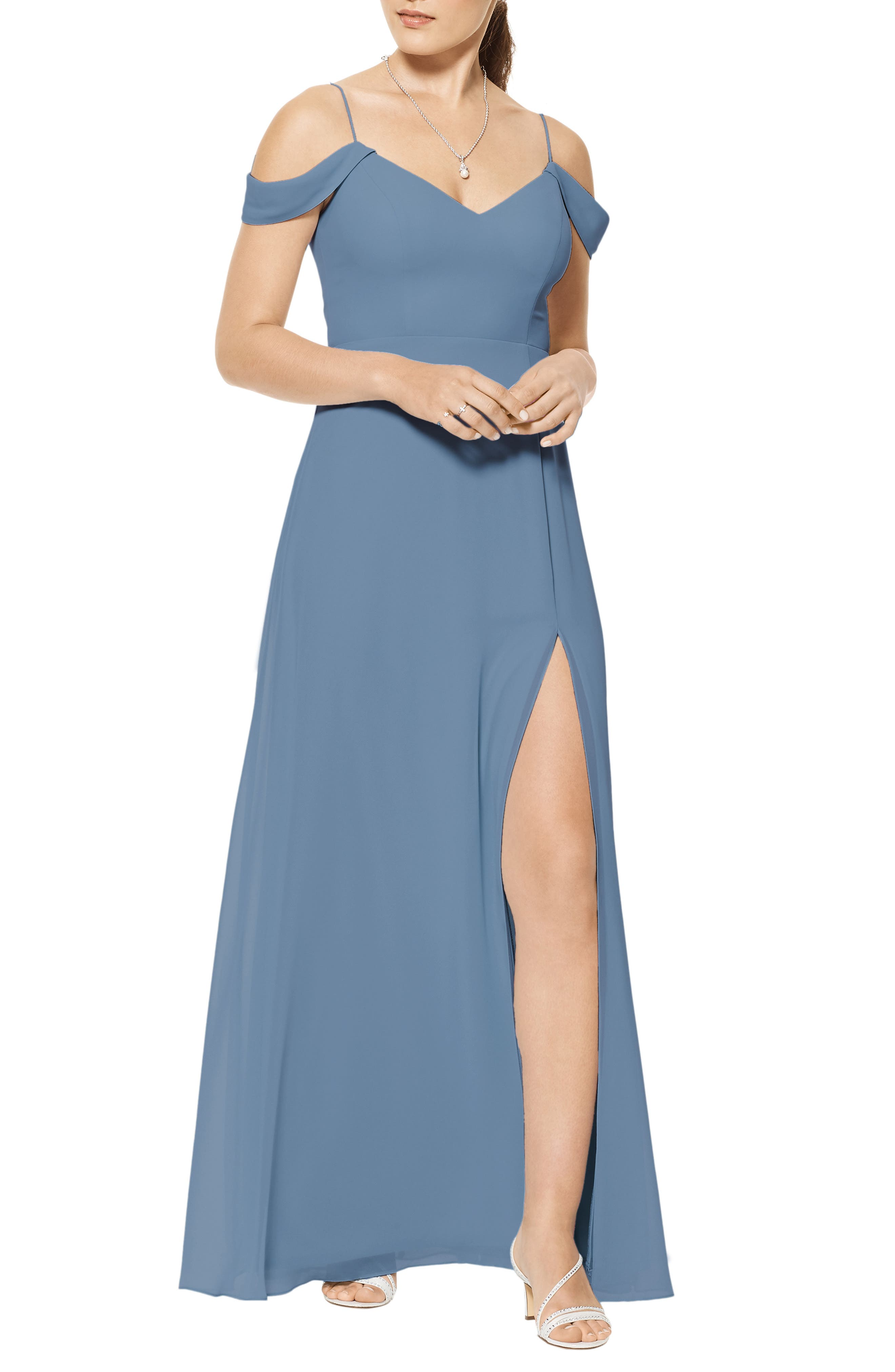 Cold Shoulder A-Line Chiffon Gown