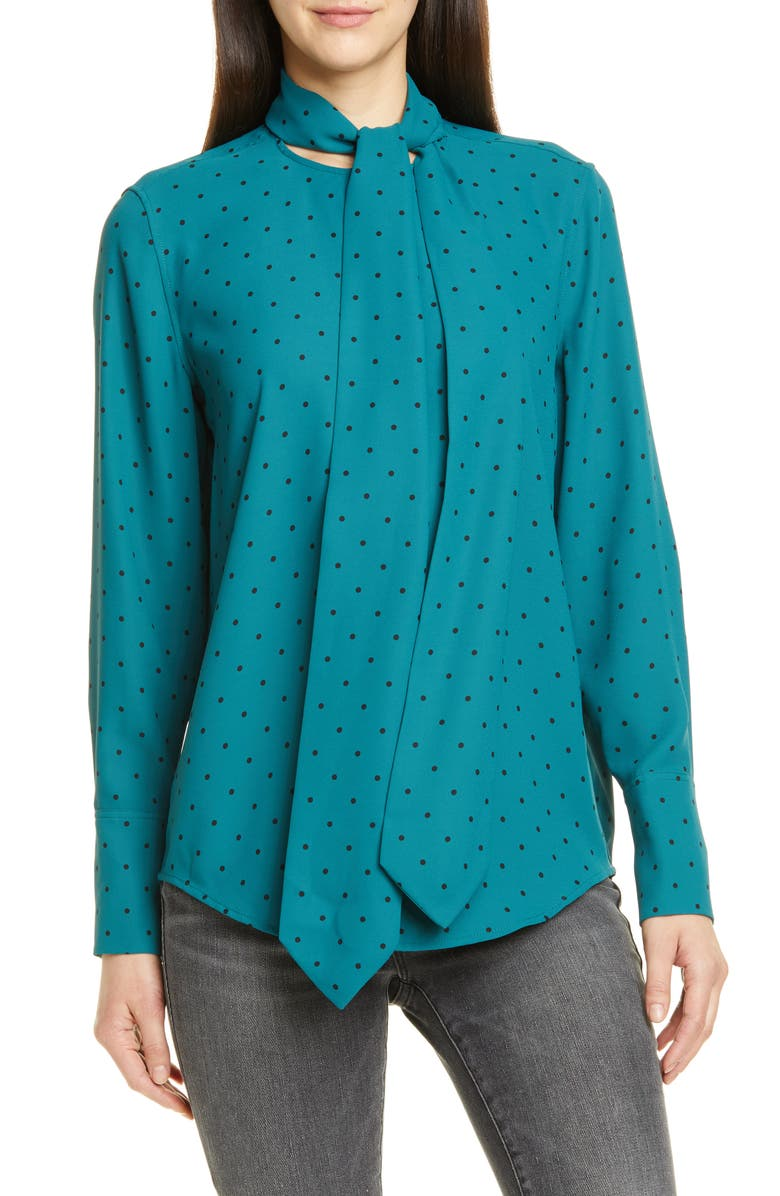 EQUIPMENT Luis Tie Neck Dot Blouse, Main, color, ATLANTIC DEEP/ TRUE BLACK