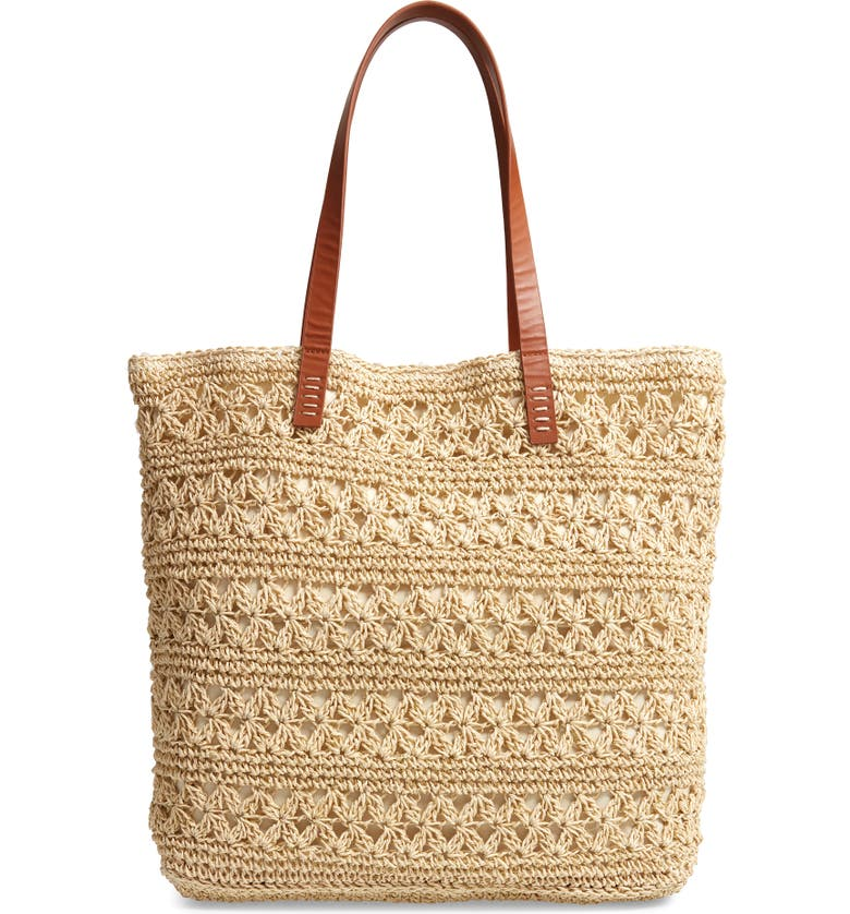 Packable Metallic Thread Woven Raffia Tote, Main, color, NATURAL