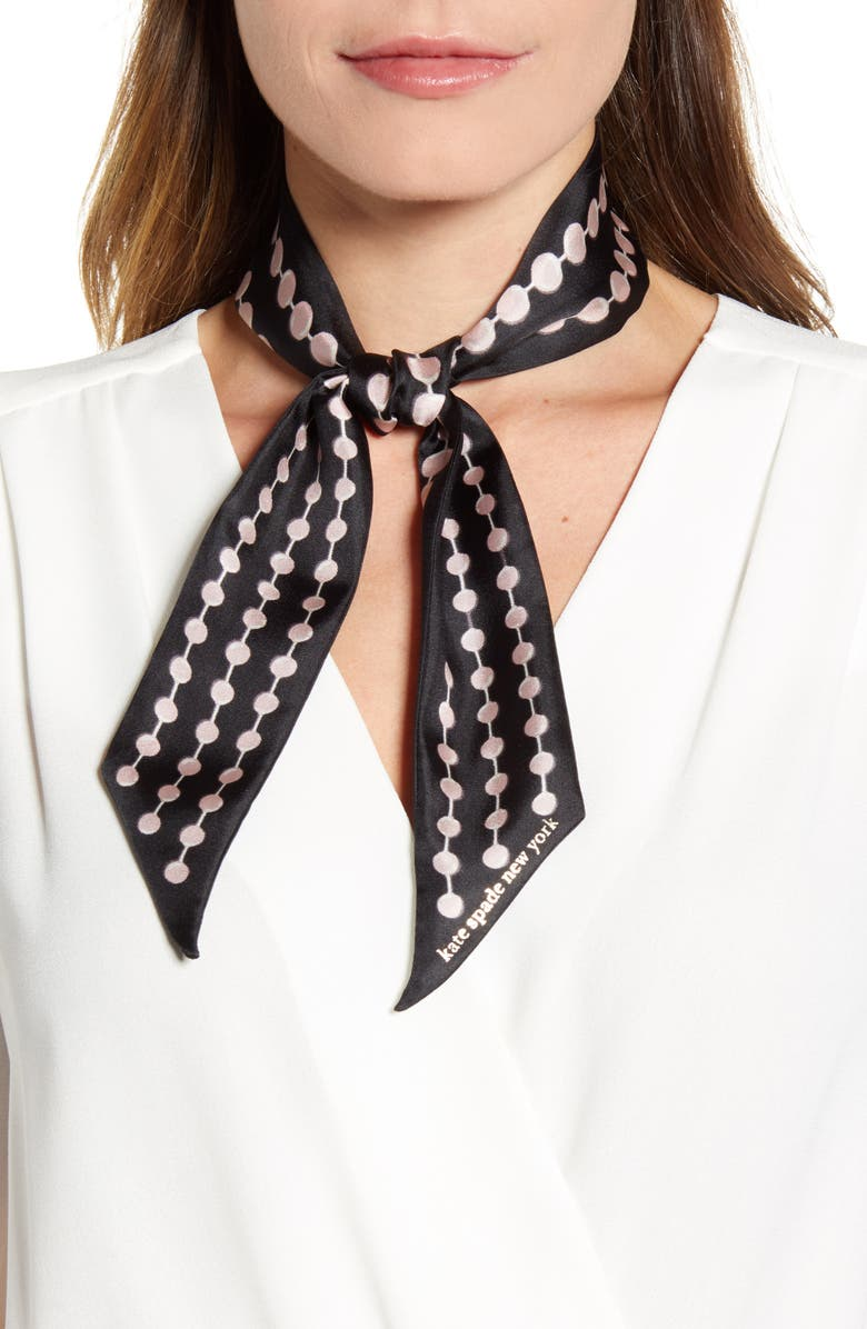 KATE SPADE NEW YORK pearl drops print skinny silk scarf, Main, color, BLACK