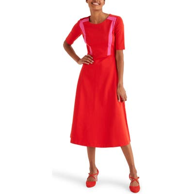 Boden Emily Ponte Fit & Flare Midi Dress, Red