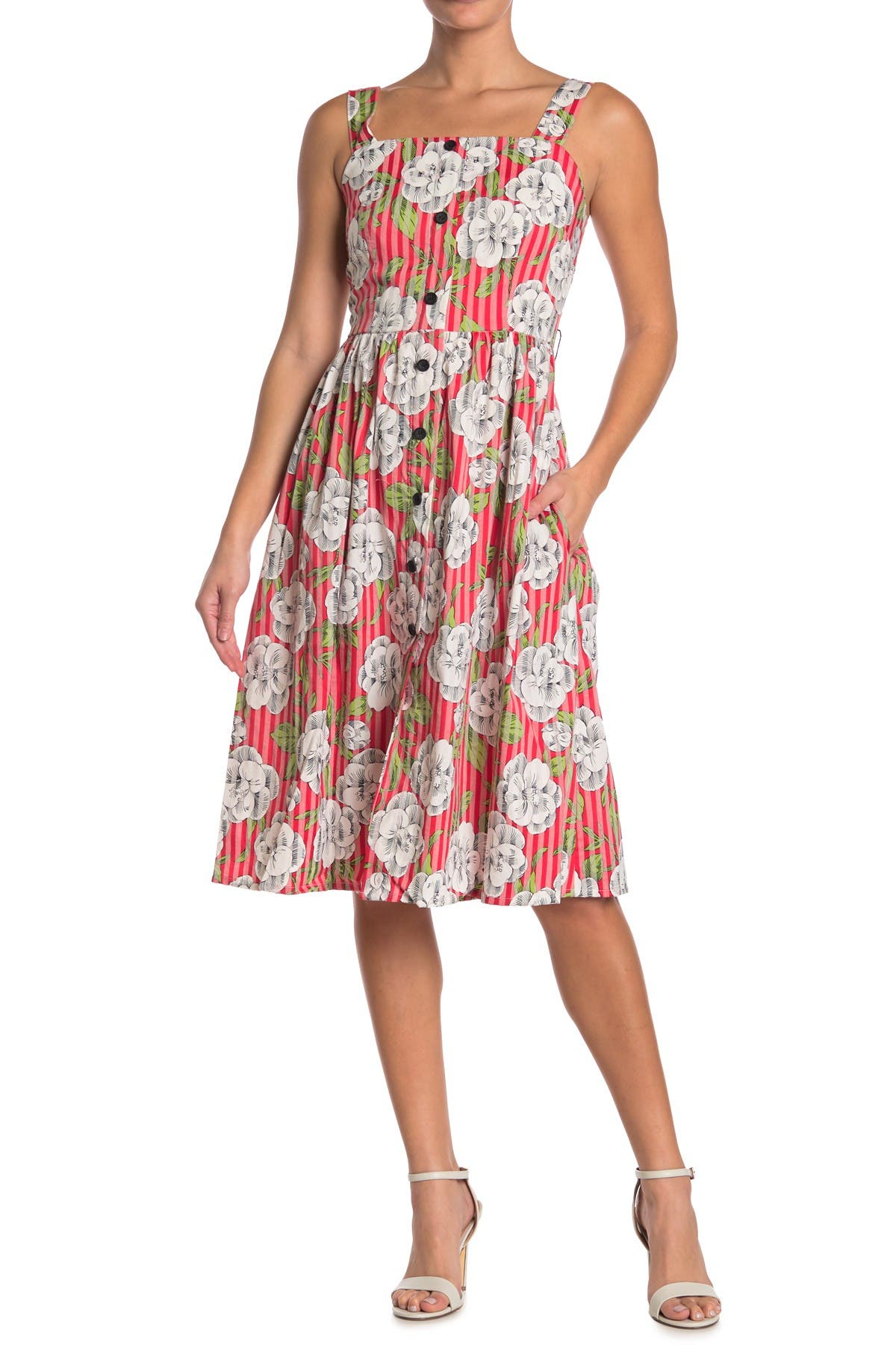 Image of SEE U SOON Floral Stripe Button Front Dress