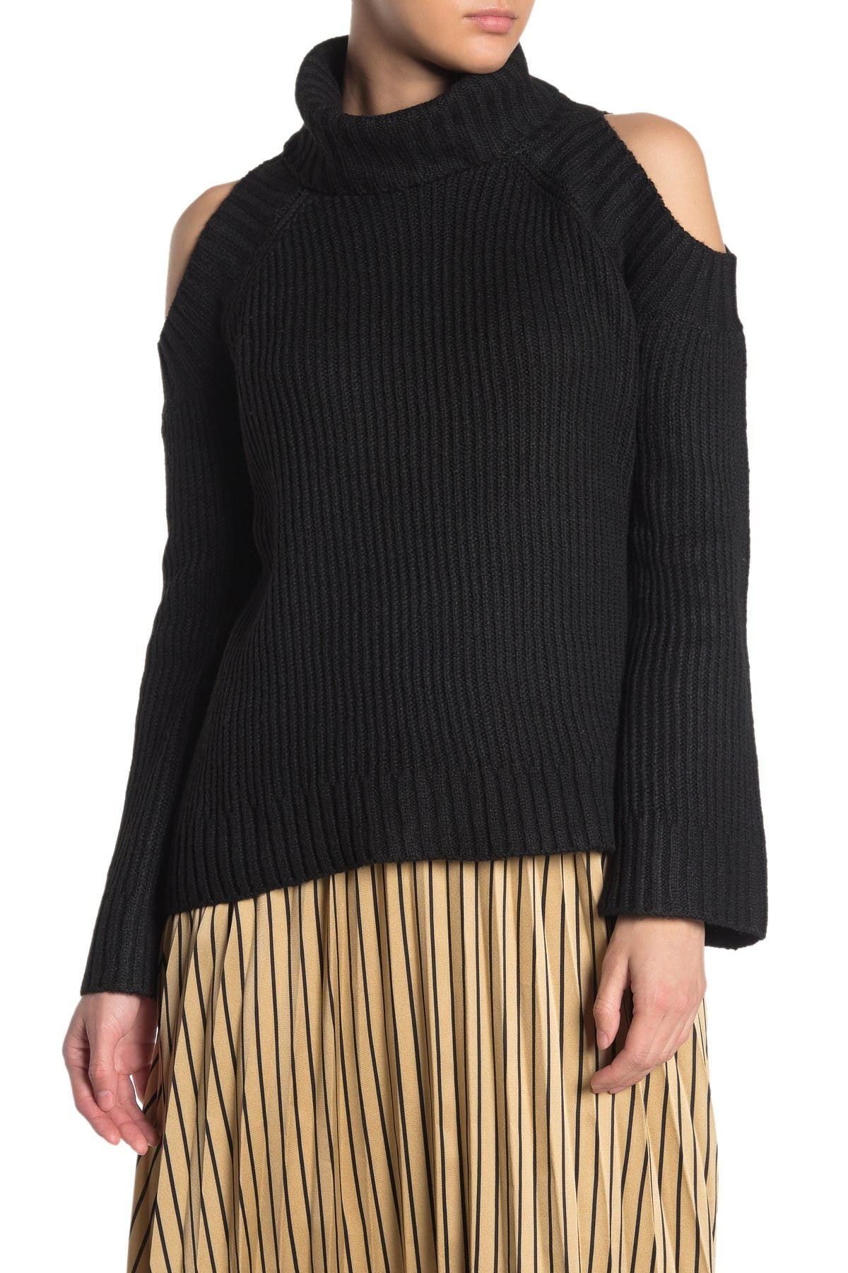 Image of J.O.A. Cold Shoulder Bell Sleeve Sweater