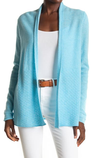 Image of Kinross Mixed Knit Cashmere Open Cardigan