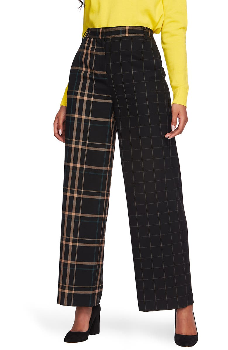 1.STATE Mixed Check Wide Leg Pants, Main, color, 006