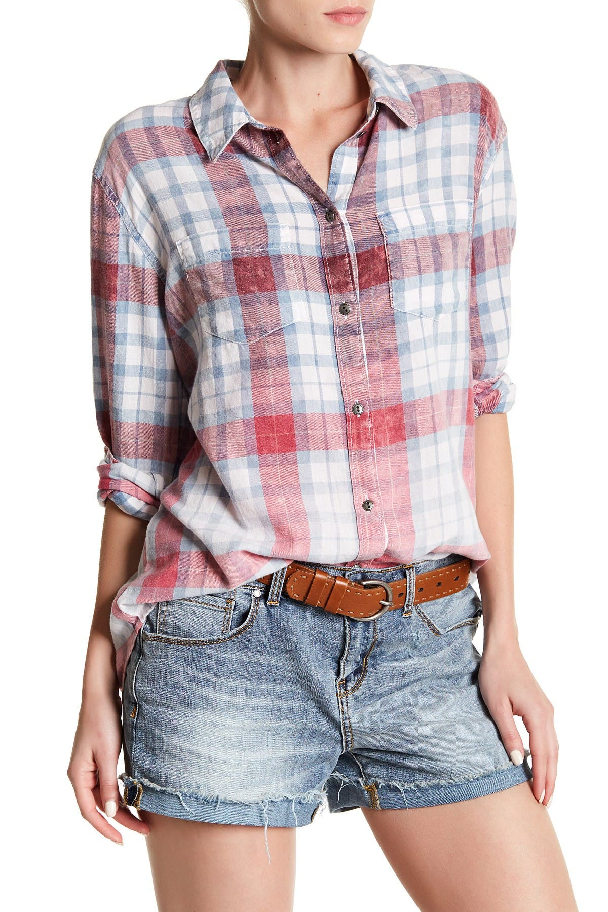 Image of Melrose and Market Layered Back Boyfriend Shirt