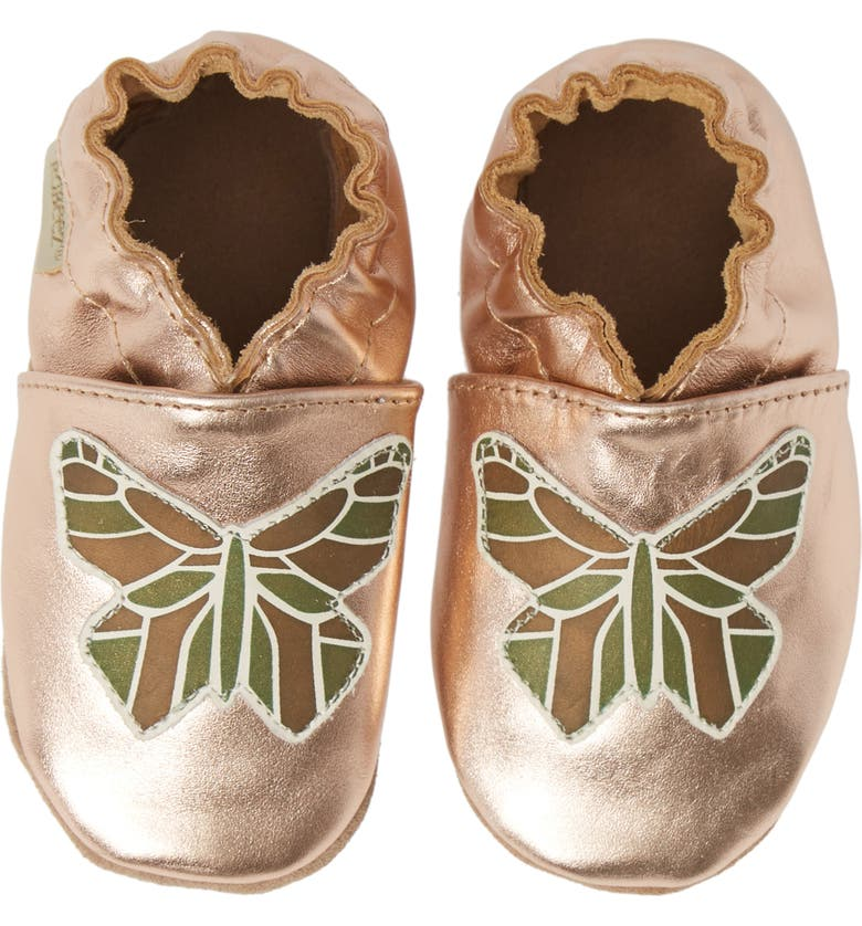ROBEEZ<SUP>®</SUP> Ava Rose Moccasin Crib Shoe, Main, color, ROSE GOLD