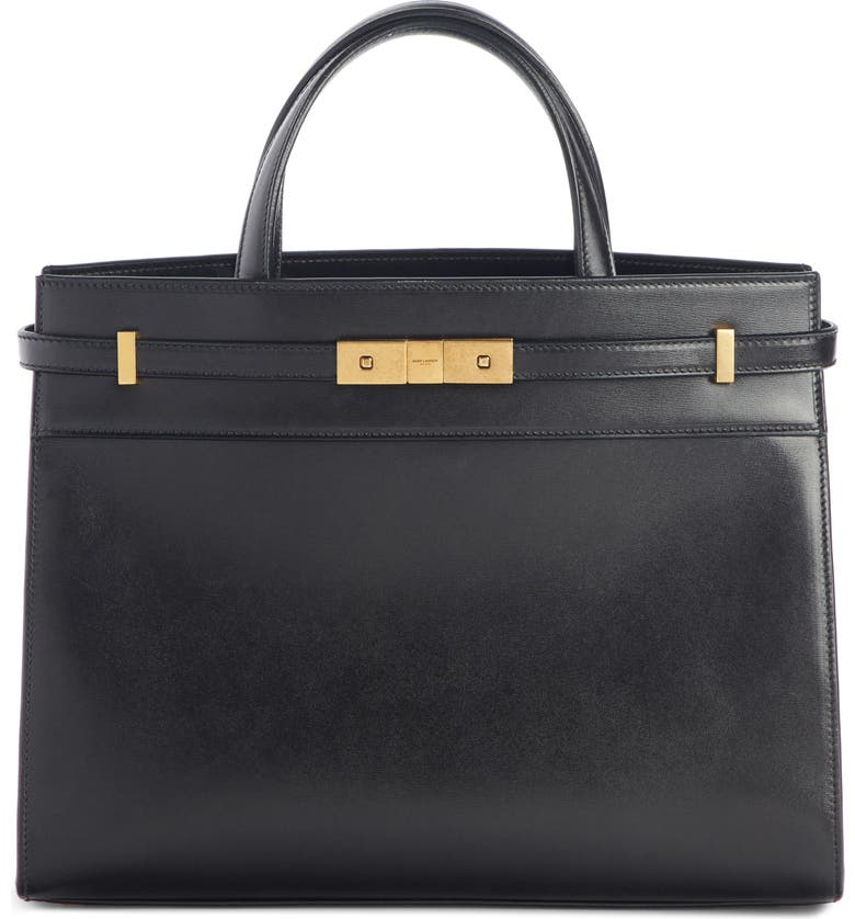 SAINT LAURENT Small Manhattan Leather Satchel, Main, color, NOIR