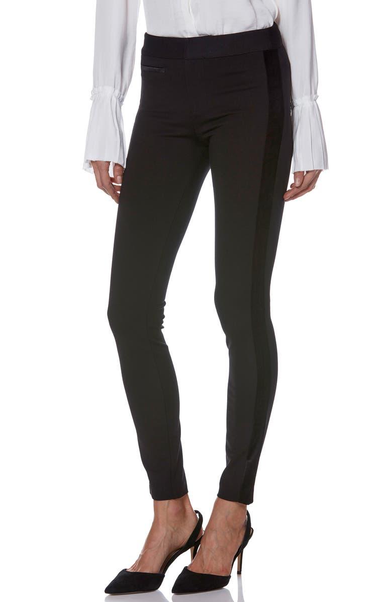 PAIGE Tereza Velvet Side Stripe Slim Pants, Main, color, BLACK