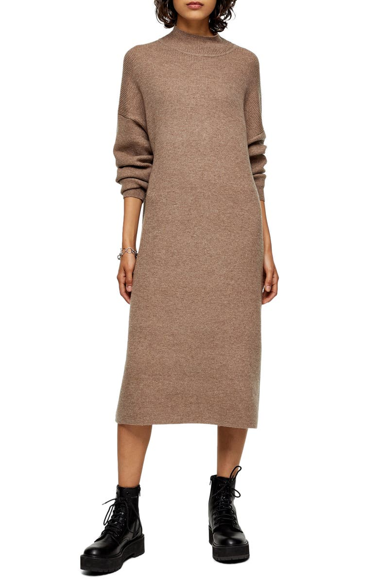 TOPSHOP Ribbed Long Sleeve Funnel Neck Midi Sweater Dress, Main, color, MINK