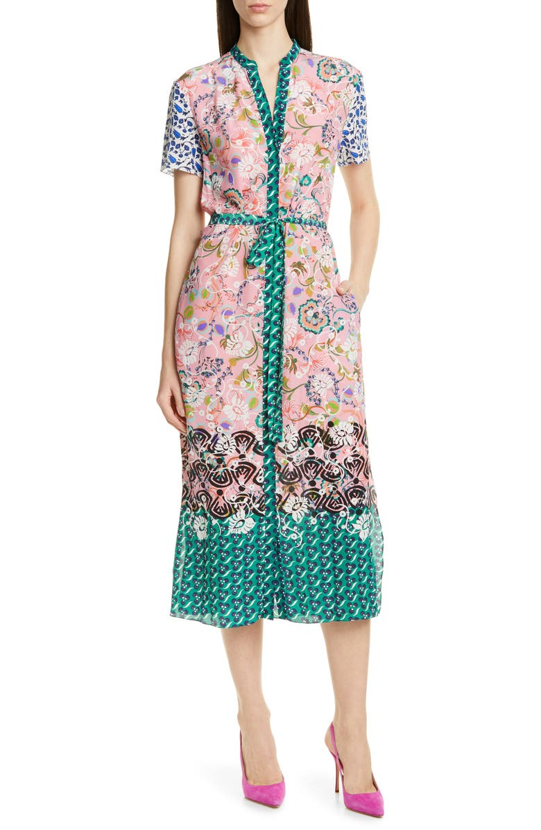 SALONI Vicki Print Silk Midi Dress, Main, color, WOODBLOCK BORDER