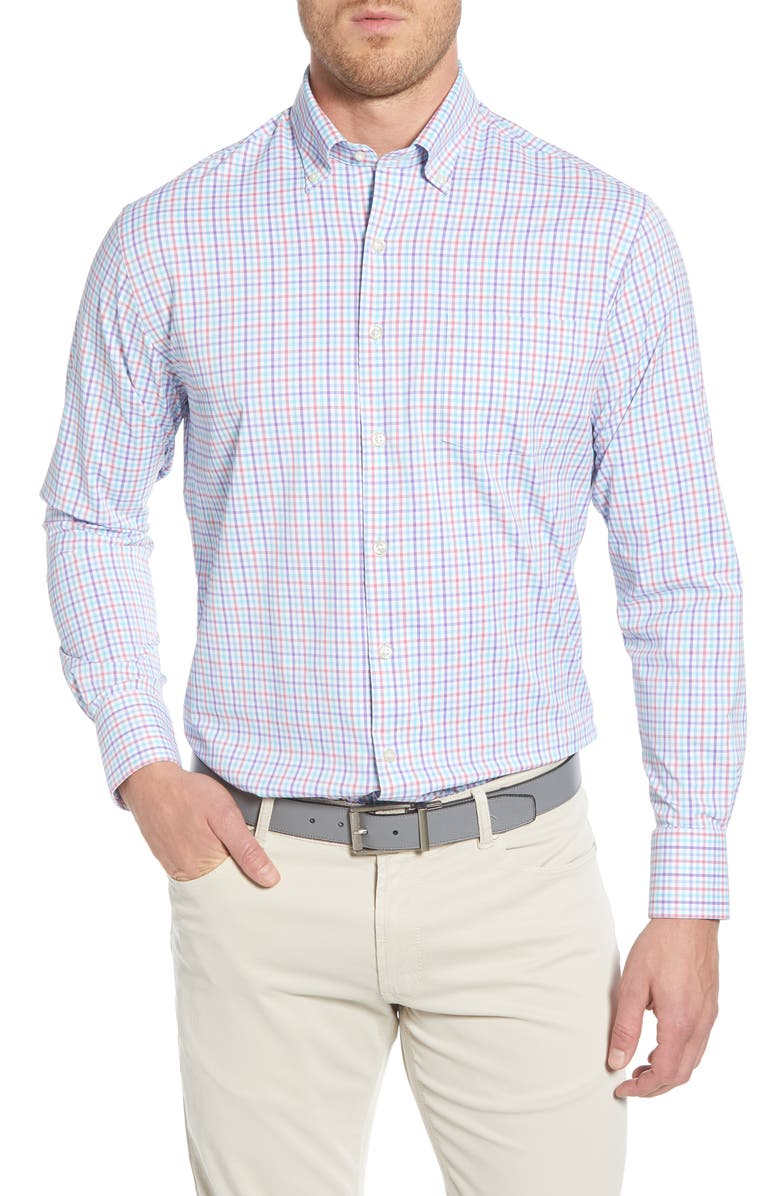 PETER MILLAR Regular Fit Check Button-Down Performance Sport Shirt, Main, color, SEASALT