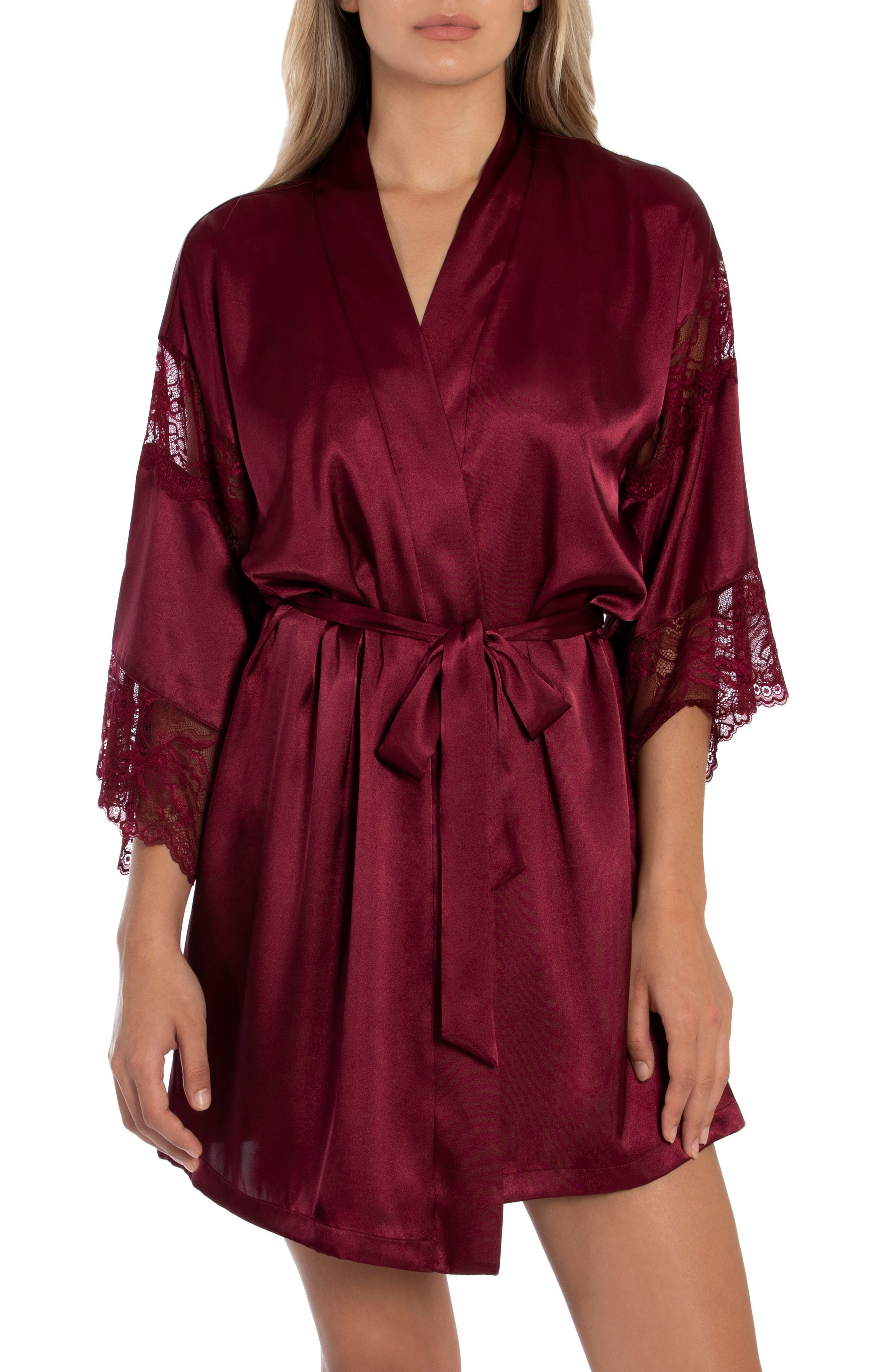 Details about  /**IN BLOOM BY JONQUIL RED ROBE WITH BLACK FLORAL DESIGN VELVET CUFFS LONG LENGTH