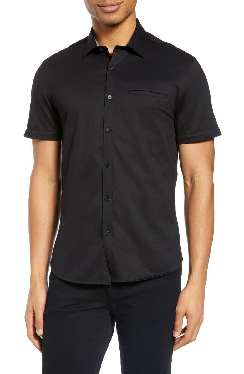 VINCE CAMUTO Slim Fit Short Sleeve Piqué Button-Up Shirt, Main, color, 001