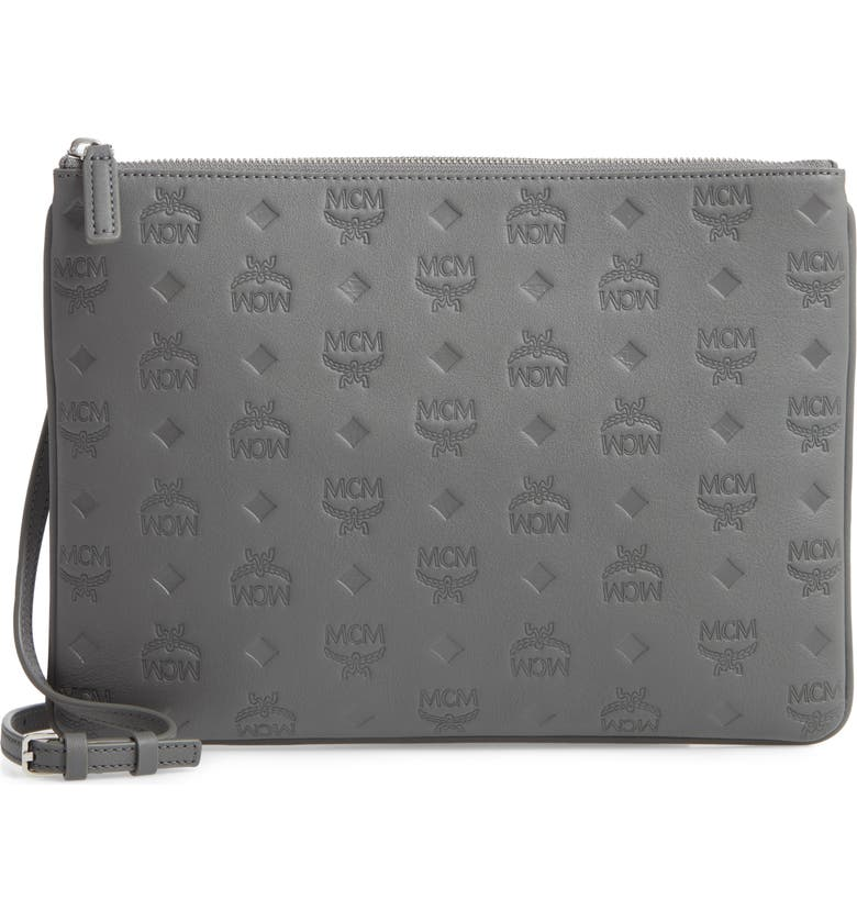 MCM Klara Monogram Calfskin Leather Crossbody Pouch, Main, color, CHARCOAL