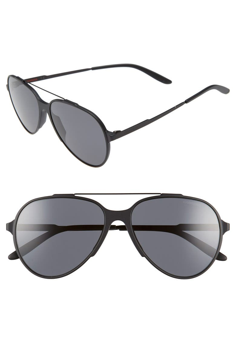 CARRERA EYEWEAR '118/S' 57mm Sunglasses, Main, color, MATTE BLACK