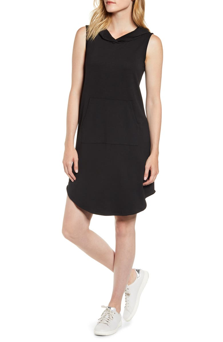 BOBEAU Sleeveless French Terry Dress, Main, color, BLACK