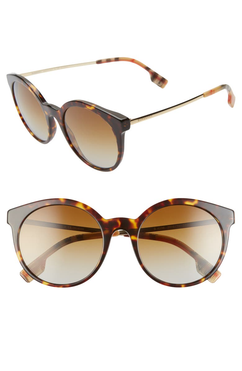 BURBERRY 53mm Round Sunglasses, Main, color, HAVANA/ PRINT/ BROWN GRAD