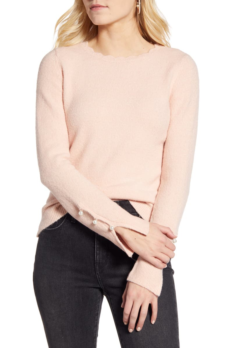 RACHEL PARCELL Scalloped Crewneck Sweater, Main, color, 680